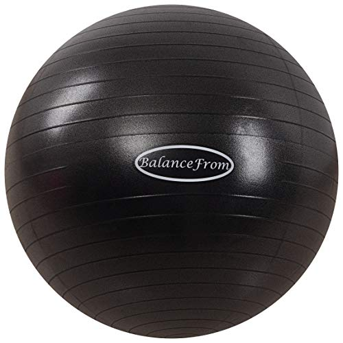 BalanceFrom Anti-Burst and Slip Resistant Exercise Ball Yoga Ball Fitness Ball Birthing Ball with Quick Pump, 2,000-Pound Capacity, Black, 48-55cm, M
