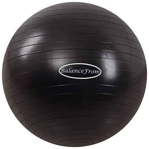 BalanceFrom Anti-Burst and Slip Resistant Exercise Ball, 58-65cm, L, Black