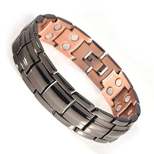 YINOX Magnétique Bracelet en Cuivre Hommes Gunmetal 30pcs Aimants Forts Cadeau d'anniversaire Papa Lui Une Boîte-Cadeau Inclus