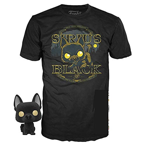 Camiseta de Hombre Harry Potter Sirius Animagus con Figura Funko Pop Negra - M
