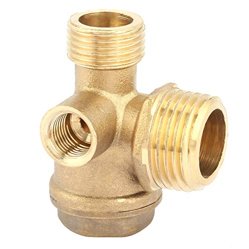Nicoone 3 Port Brass Air Compressor Check Valve Male Threaded Check Valve Tube Connector Tool
