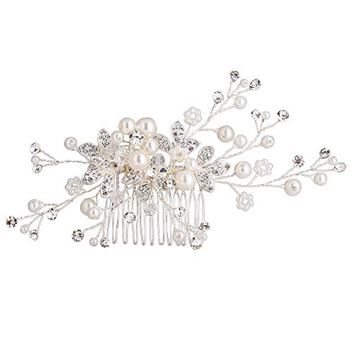 Mlouye Women Wedding Hair Comb Handmade Bendable Clear Crystal Beaded Ivory Color Cream Simulatd Pearl Leaf Vine Filigree Flower Bridal Hair Accessories for Bride and Bridesmaids Decorative