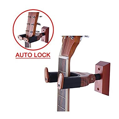 PUNK Auto Lock Safety Wooden Wall Mount Holder, Classical, Electric, Acoustic, Guitar Bass Hanger