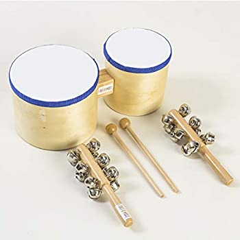 """5665 FANTASWEET 10""""5"""" Wood Bongo Drum Set with 2 Hand Sleigh Bells for Kids Adults Beginners Natural"""