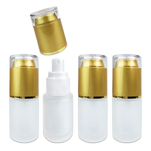4 Bottles Frosted Glass Spray Bottle with Fine Mist Sprayer and Cap for Travel Perfume, Cologne, Essential Oils or Alcohol and Other Liquids (4 Bottles, Gold (1 Ounce))