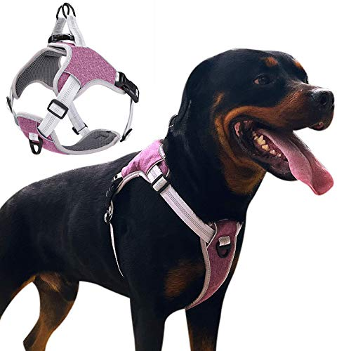 LOCYFENS Dog Harness No Pull,Dog Harness Medium,Adjustable Step in Harness,Safety 360° Reflective Dog Harness,Easy Walk Dog Vest Harness Medium Size Dog,Purple M
