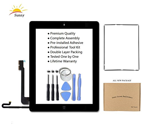iPad 4 Model A1458, A1459, A1460 Black Screen Replacement Touch Screen Digitizer Glass Assembly Includes Home Button Camera Holder Pre Installed Adhesive Stickers Bezel Frame and Professional Tool Kit