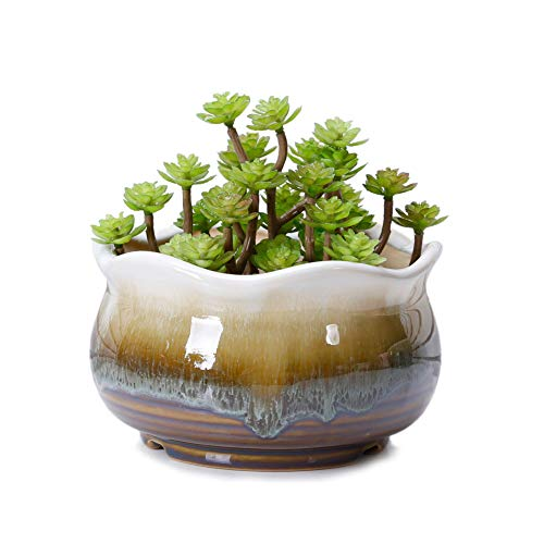 VanEnjoy Large Ceramic Succulent Pot, Multicolor Colorful Flowing Glazed, Indoor Home Décor Cactus Flower Bonsai Pot Planter Container, Candle Holder Ring Bowl (Brown C)