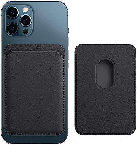 Funda de piel magnética para iPhone 12 / Pro / Mini / Max con ranura para tarjetas de identificación RFID Mag Safe para iPhone 12 /Max/ Mini Card Holder – puede contener 1 ~ 2 tarjetas (negro)