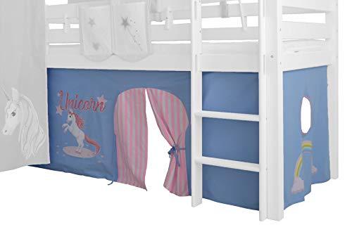 XXL Discount Vorhang 3-teilig für Mädchen 100% Baumwolle Stoffvorhang Bettvorhang inkl Klettband für Hochbett Spielbett Etagenbett Stockbett Kinderbett (Blau/Rosa, Einhorn)