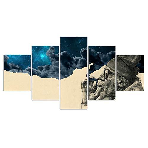 GHTAWXJ - Lienzo impreso en alta definición (5 piezas), diseño de hombre con barba vieja, cuadros de pared vintage