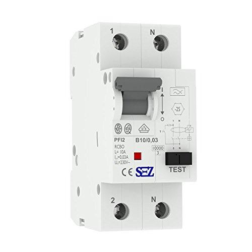 SEZ FI/LS B10 30mA 2p 10kA RCBO VDE FI/LS-Schalter 0090611 Kombi Schalter 0110