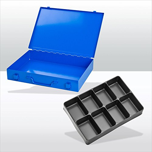 Preisvergleich Produktbild ADB Sortimentskoffer / Sortimentskasten / Kleinteilemagazin / Kleinteilebox aus Metall,  mit 8-fach Einteiler,  ABS Kunststofffächer,  Blau (RAL 5015),  Schlag- und kra