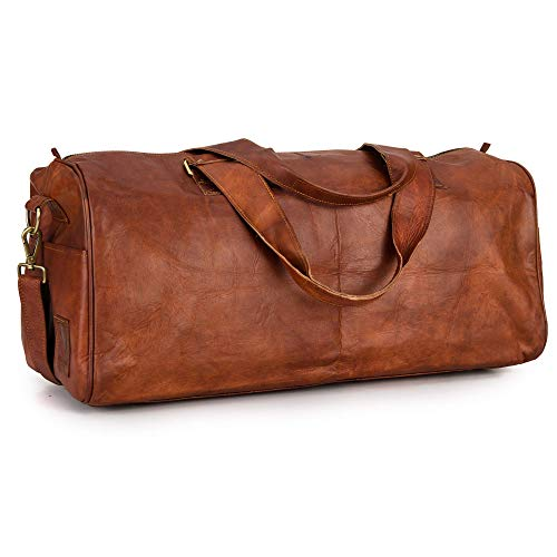 Berliner Bags Vintage Leather Duffle Bag Oslo for Travel or the Gym, Overnight Bag for Men and Women - Brown