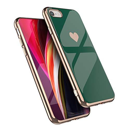 EYZUTAK Carcasa para iPhone 7 iPhone 8 iPhone SE 2020, silicona suave TPU Slim Case Galvanizado Corazón Teléfono Caso Simple Lujo a prueba de golpes Funda protectora - Verde oscuro