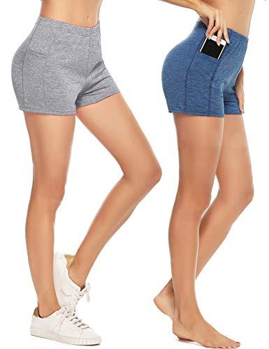 Aibrou Sport Shorts Damen 2er Pack Schnelltrocknende Kurze Sporthose Laufshorts Fitness Joggen und Training Hose für Yoga Jogging Gym Running