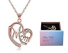 Idea Regalo - Regali Festa della Mamma, Deesos Collana miglior regalo per il compleanno della mamma cuore diamante collana pendente per la mamma compleanno oro rosa