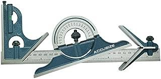 Accusize Industrial Tools 12'' 4 Combination Square Ruler Set Protractor Satin, 4-R Graduation, 0000-8101