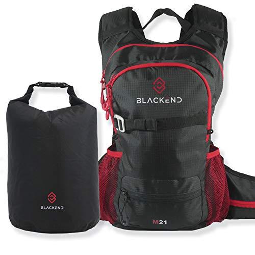 Blackend M21 Leichter Kleiner Wanderrucksack | multifunktionaler Outdoor-Rucksack | Fahrradrucksack | Freizeitrucksack | Rucksack Damen Herren | 21l in Schwarz