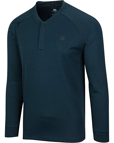 Dry Fit Long Sleeve Collarless Golf Shirts for Men - 4 Way Stretch and Moisture Wicking Golf Polo Midnight Blue