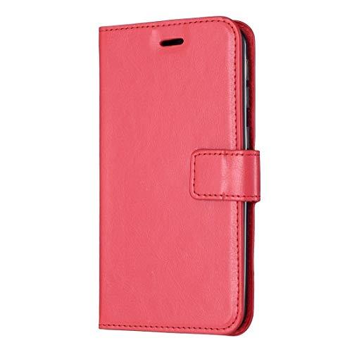 Für iPhone 11 Fall Crazy Horse Textur Horizontal-Schlag-Leder-Kasten mit Halter & Card Slots & Wallet & Bilderrahmen for iPhone 11 (schwarz) Asun (Color : Red)