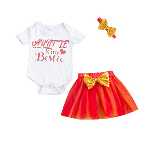 Printasaurus Outfits Clothes for 18-24 Months Boy and Girl, Newborn Infant Baby Girls Letter Romper Tops Tulle Tutu Skirt Headbands Outfits, Girls Outfits&Set (Red 18-24 Months)