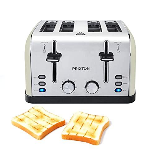 PRIXTON Bianca - Tostador ancho/Tostadoras/Tostadora de pan con 4 ranuras, 7 niveles de tostado, Potencia 1900 W, Diseñado en Acero inoxidable (Reacondicionado)