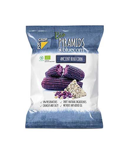 POPCROP Bio Pyramides BLUECORN, 10 x 80 g | Knapperige snack gemaakt van blauwe maïs, bruine rijst en Himalaya zout | Hoge koolhydraten, laag vetgehalte, glutenvrij, veganistisch