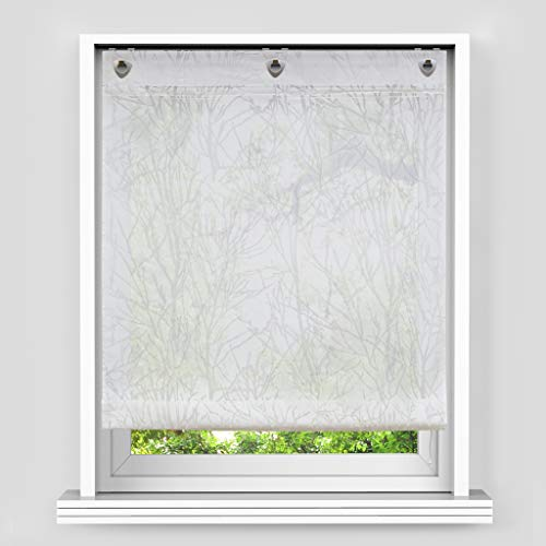Yujiao Mao Sheer Roman Curtain Burnout Branch Pattern Window Shade U-Hook Adjustable Balloon Shades for Kitchen Bedroom Bathroom,1pc (White,W47 x L55 inch)