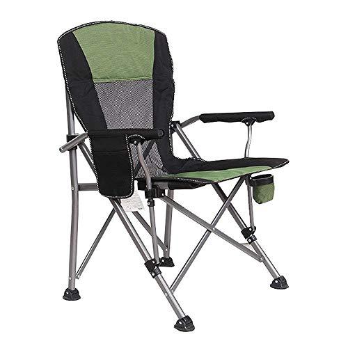 Armlehne für Camping, faltbar, tragbar, hohe Rückenlehne, Getränkehalter und Armlehnen, für schwere Arbeit, Rucksack/Reisen/Strand/Picknick mit Tasche grün