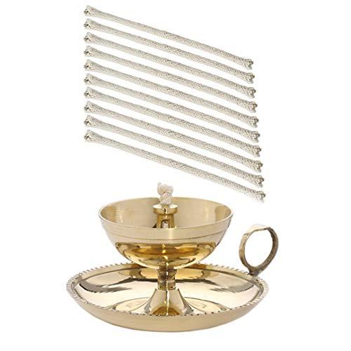 NKlaus Ghee Lampe Öllampe mit 10 Ersatzdochte Handarbeit Messing Haus Garten Gold groß