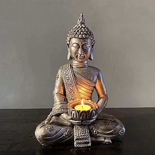 Estatua De Buda con Soporte De Luz, Soporte De Luz Figura De Buda Sentada Resina Antigua Tailandia Buda Talight Vela Soporte De La Vela Meditación Decoración para El Hogar Decoración,Plata,B
