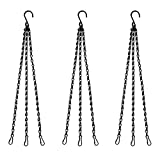 Benvo 16 inch Long Hanging Plant Chains Flower Pot Hangers with Clips and Hooks 3 Point Replacement Chain Holders for Baskets Bird Feeders Planters and Other Ornaments (Pack of 3, Black)