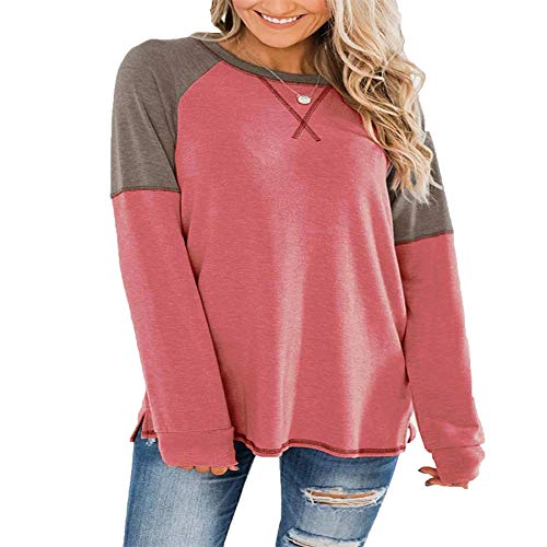Derrick Aled(k) zhuke Autumn and Winter Women's Slim Stitching Round Neck Long Sleeve Solid Color T-Shirt Top Red