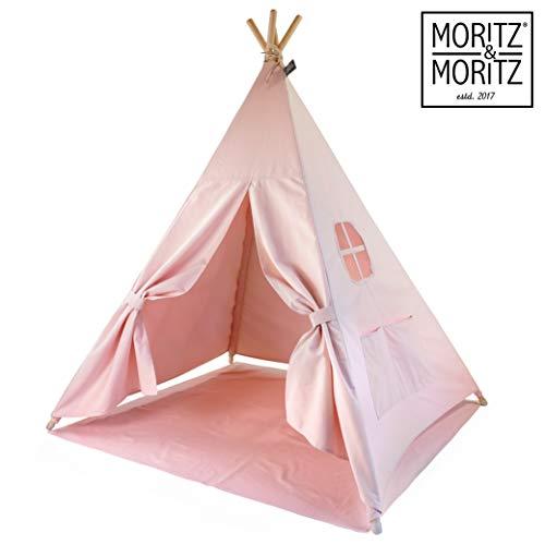 Moritz & Moritz Tipi Indio para Niños - Tipi para Niños - Tipi Infantil con Cubierta de Suelo y Ventana - para Casa y Jardín (Rosa)