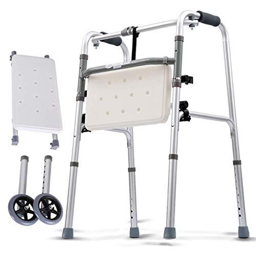 JALAL Leichte Faltbare Gehhilfe aus Aluminium, Rollator, 2-in-1-Gehhilfe mit Sitz und Gehhilfe mit 2 Rädern und Rädern