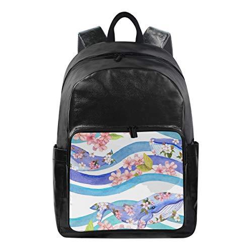 ALarge Sac à dos aquarelle Motif floral et animal de requin multi-fonction Sac d'affaires École Collège Toile Livre Sac Voyage Randonnée Camping Sac à dos Sac à dos