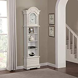 FirsTime & Co. Shiplap Grandfather Wall Clock, 72 x 19 x 9, Shabby White