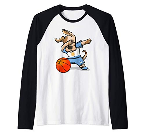 Dabbing Dog Perro Baloncesto Argentina - Bandera Argentina Camiseta Manga Raglan
