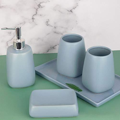 ZHQHYQHHX Set di accessori da bagno in ceramica dispenser sapone portasapone 2 bicchieri accessori per il bagno portaspazzolino set di accessori (colore: blu E