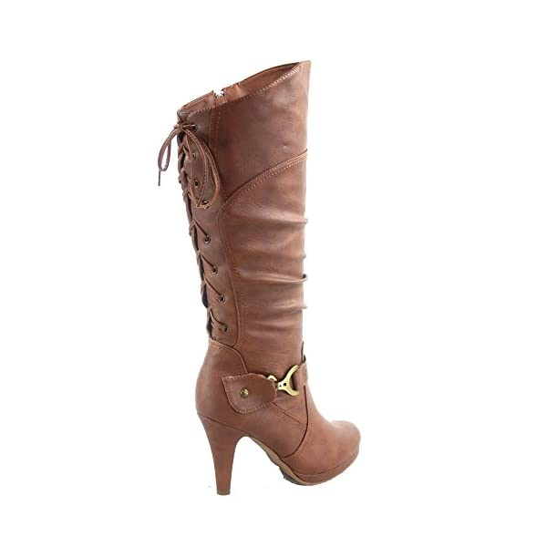 TOP Moda Womens Page-65 Knee High Round Toe Lace-Up Slouched High Heel Boots 5