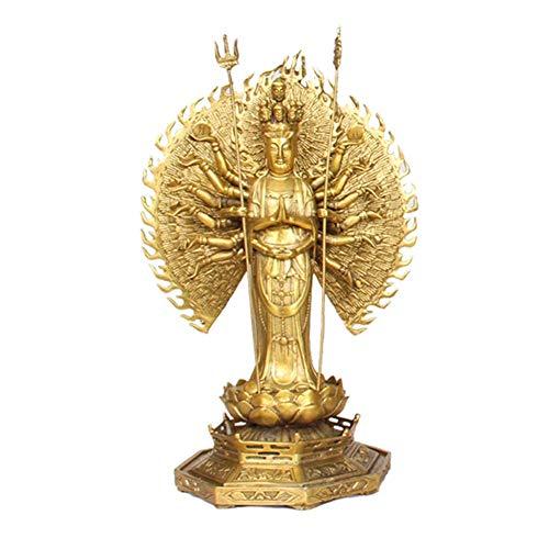 yunyu Figurensammlung Avalokiteshvara Statue, Sammlerskulptur der buddhistischen Göttin, Sammlerfigur Kwan Yin Figur Golden A 13,8 Zoll