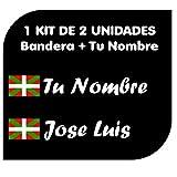 Pegatina Vinilo Bandera Pais Vasco (Ikurriña) + tu Nombre - Bici, Casco, Pala De Padel, Monopatin, Coche, Moto, etc. Kit de Dos Vinilos (Pack Fuentes 1)