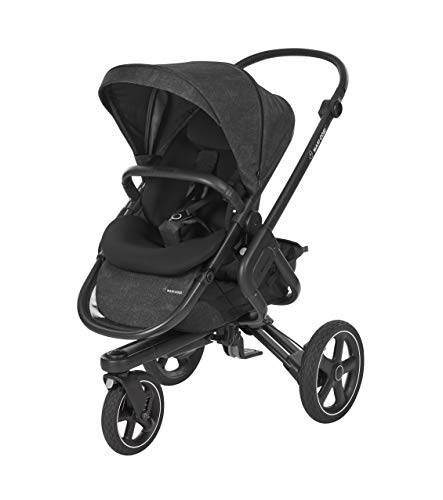 Maxi-Cosi Nova 3-Rad Kombi-Kinderwagen, automatisch klappbar, nutzbar ab der Geburt mit Babyschale oder Babywanne Oria bis circa 3,5 Jahre, komfortabel für Stadt und Land, nomad black