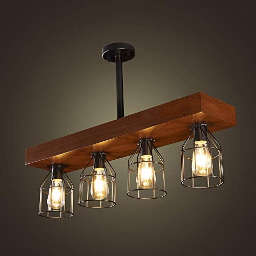 Wellmet Farmhouse Chandelier with Metal Cages Rustic Chandelier for Dinning Room 4 Lights Chandeliers product image