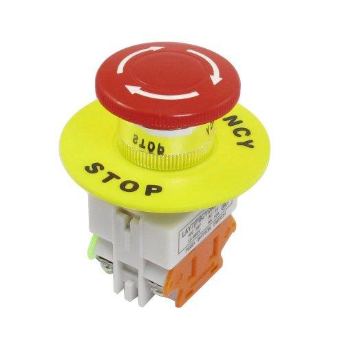 SODIAL(R) Interruptor de Boton de Presion para Parada de Emergencia Tapa de Seta Rojo 1NO 1NC DPST CA 660V 10A
