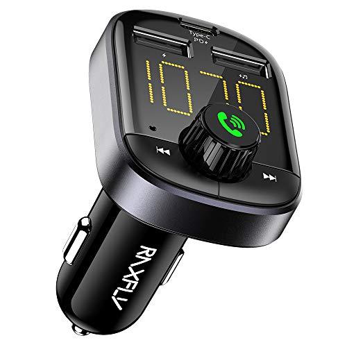 Bluetooth FM Transmitter - RAXFLY FM Transmitter für Auto Ladegerät Bluetooth Sender Empfänger Radio Adapter mit 2 USB Anschlüsse Typ C PD Ladegerät Unterstützt TF Karte & USB Stick Brillantschwarz