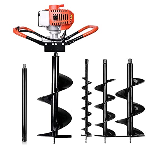 52cc 2.5HP Gas Powered Post Hole Digger, 2 Cycle, One Man Earth Auger with 3 Replacement Drill Bits (5