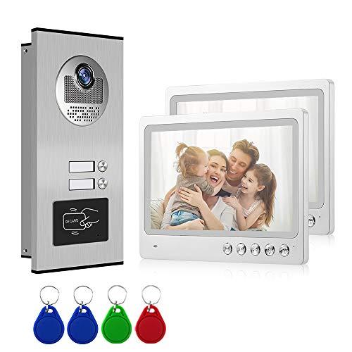 Video Türsprechanlage 2 Familienhaus WOLILIWO Video Türklingel WiFi 9 Zoll Monitor Türstation,Freisprech Gegensprechanlage,RFID Card,Nachtsicht,Netzwerkkabelanschluss