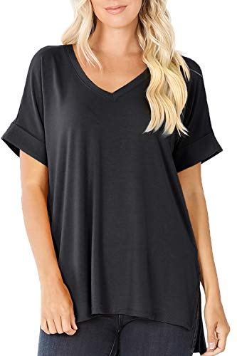 LE3NO Womens Loose Fit V-Neck Short Sleeve T Shirt Tunic Top for Leggings, Black, Medium